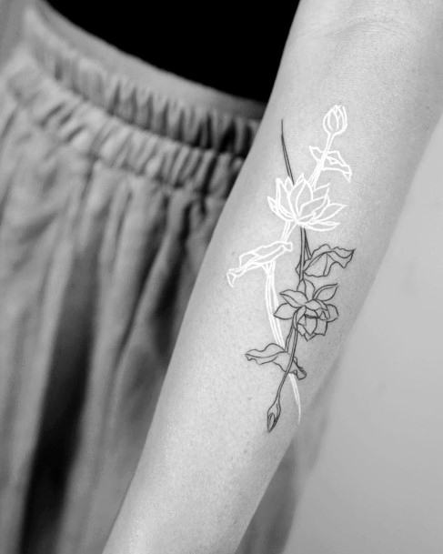 White Ink Lotus And Black Floral Tattoo Women Hands Art