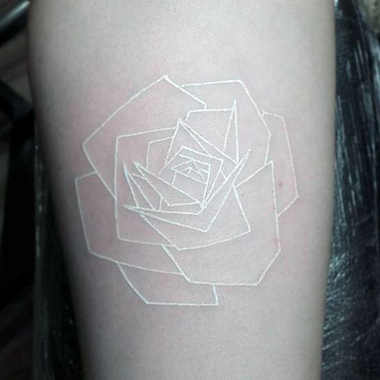 White Ink Rose Tattoo For Women