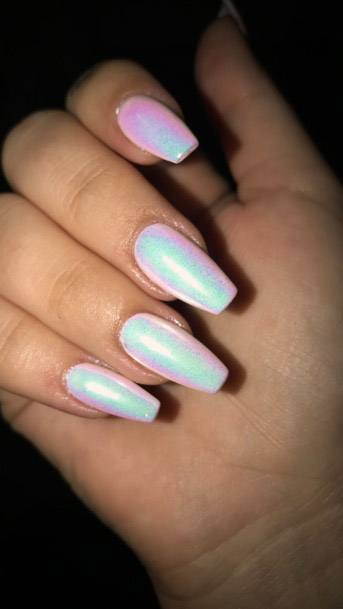 White Iridescent Nails Women