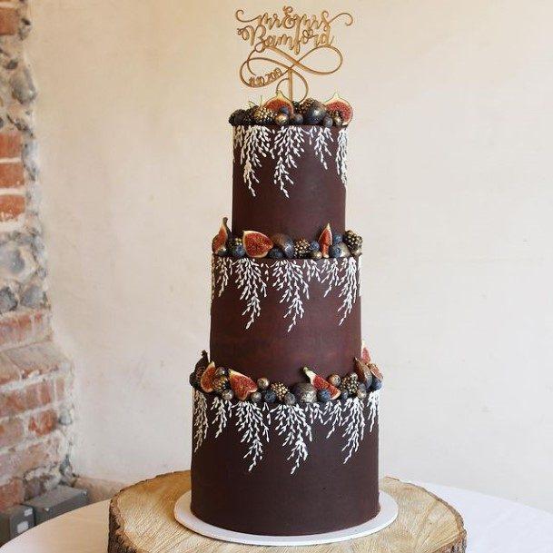 White Lacy Leaf Design Chocolate Wedding Cake