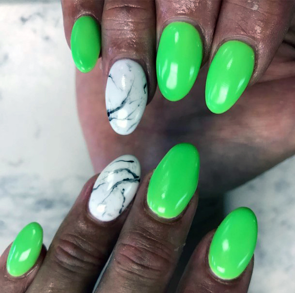 White Marble Accent Neon Green Nails