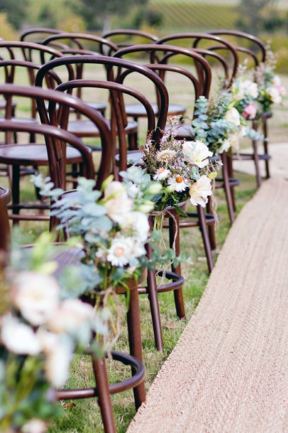 White May Wedding Flowers Chairs