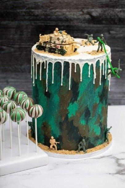 White Melting Icing Camo Wedding Cake
