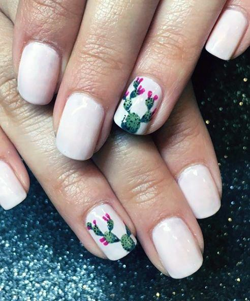 White Nails Cactus Accent Women