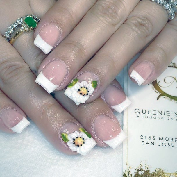 White Nails Flowers 3d Women Manicure