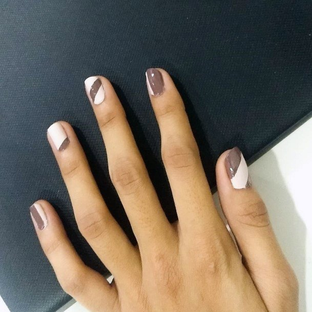 White Nails With Brown Ribbon Patches Women