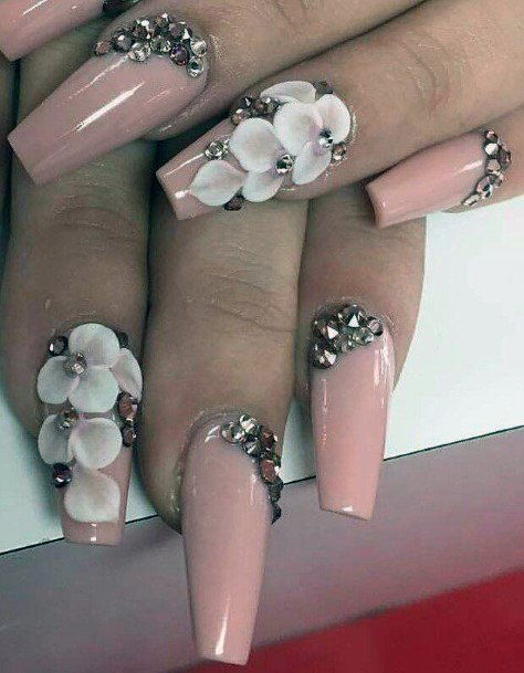 White Orchids And Stones Nail