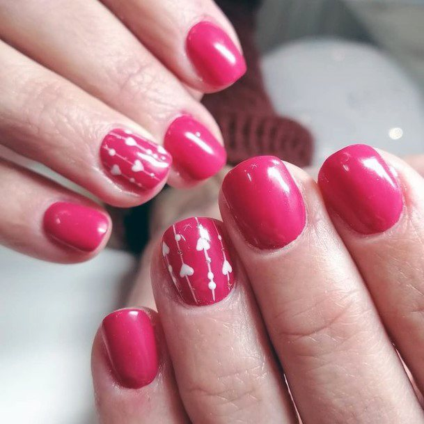 White Romantic Design On Bold Pink Short Nails