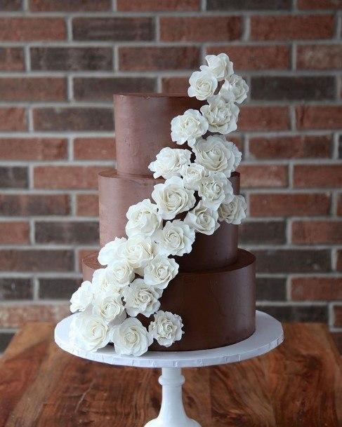 White Rose Creepers On Chocolate Wedding Cake