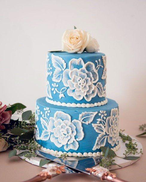 White Rose Embossed Blue Wedding Cake