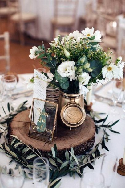 White Roses And Greenery Rustic Wedding Centerpiece Ideas