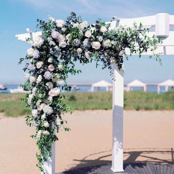 White Roses Decor Beach Wedding Flowers