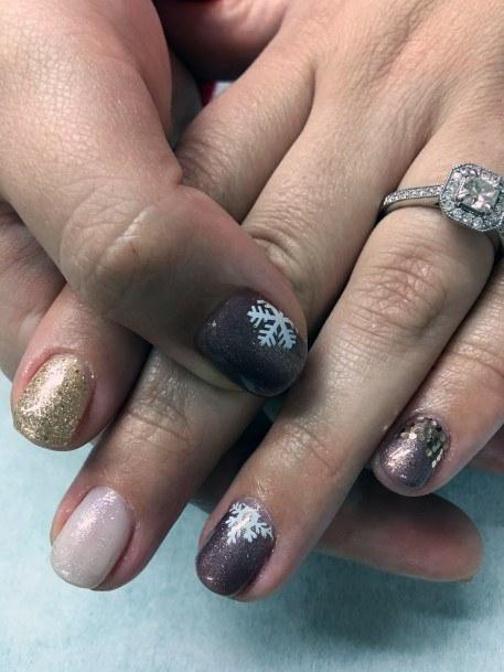 White Snow Flake Art On Brown Nails Women