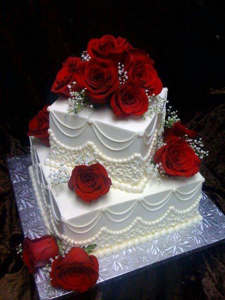 White Square Shaped Red Velvet Wedding Cake