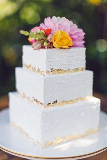 White Square Wedding Cake With Colored Flowers