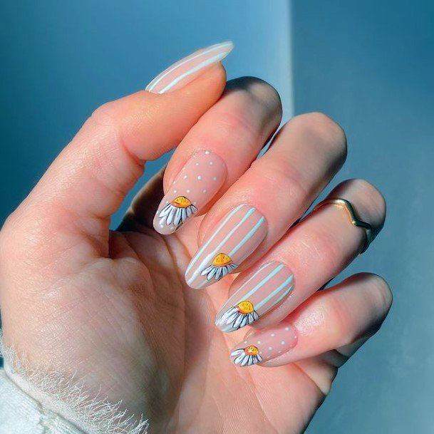 White Stripes April Nails Women