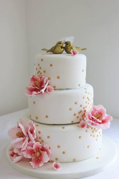 White Three Tier Wedding Cake With Gold Polka Dots Cake Rise