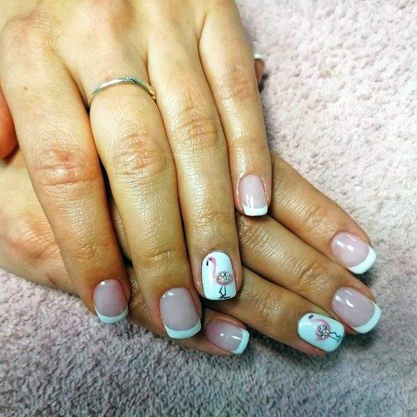 White Tipped Flamingo Nails Women