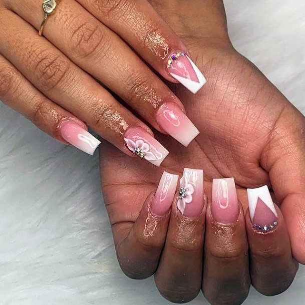 White Tipped Pink 3d Flower Nails Women
