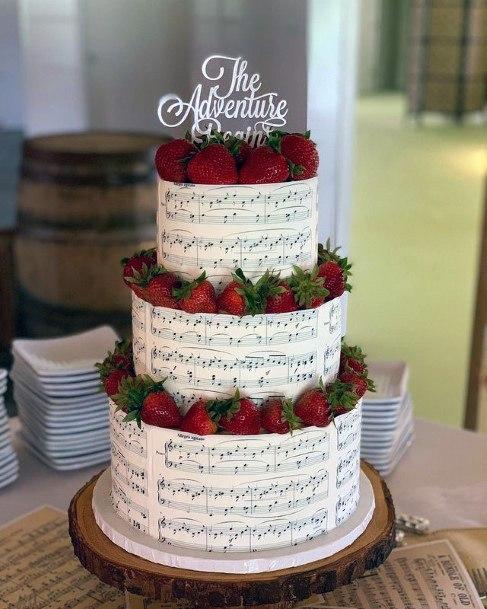 White Unique Wedding Cake With Strawberries
