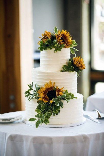 White Wedding Cake For Women With Sunflowers