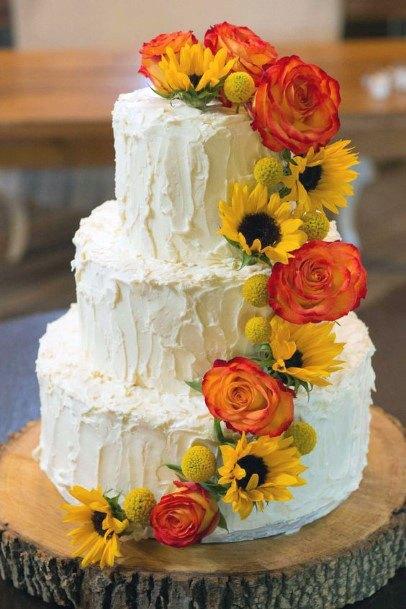 White Wedding Cakes For Women Sunflower Creepers Art