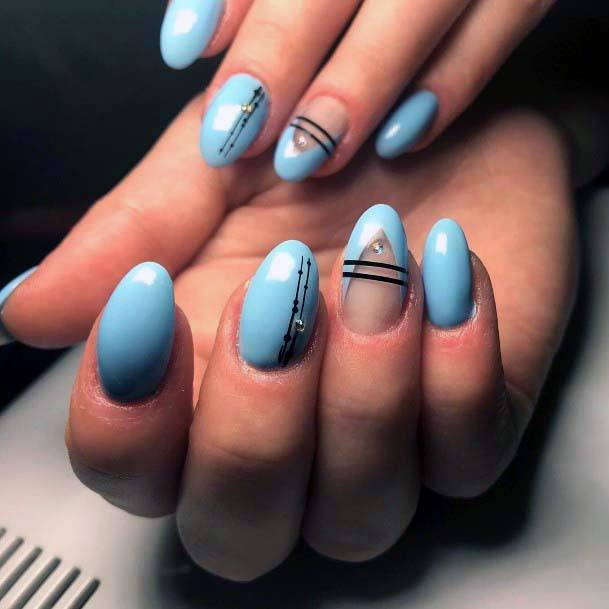 Whitish Blue Almond Nails Bright For Women