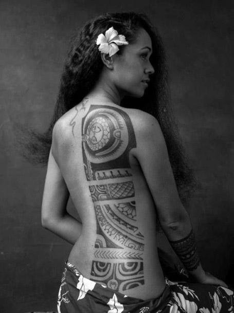 Wholesome Tribal Tattoo Womens Back
