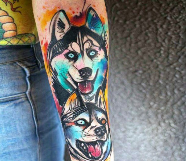 Wild And Jazzy Dogs Tattoo For Women