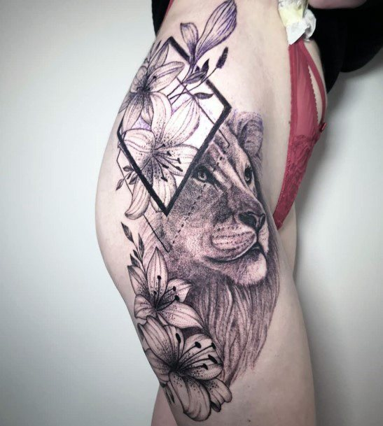 Wild Beast And Geometric Frame Tattoo Womens Upper Thighs