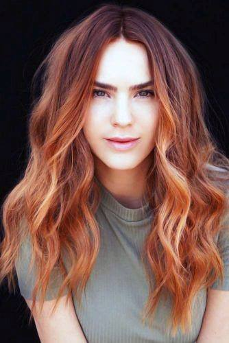 Wild Copper Highlighted Wavy Center Part Hairstyle For Women
