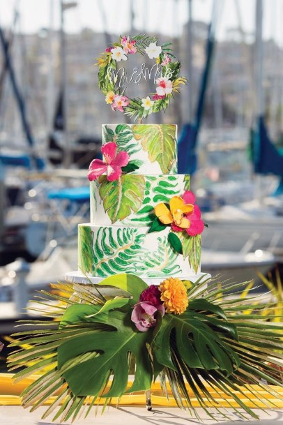 Wild Tropical Design With Palm Leaves And Bright Flowers Wedding Cake Ideas