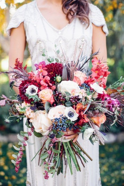 Wildflower Inspired Burgundy White And Orange Bouquet Fall Wedding Ideas