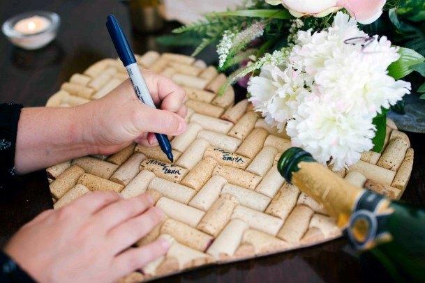 Wine Cork In Heart Wedding Guest Book Ideas