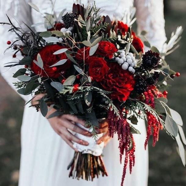 Wine Red Christmas Wedding Flowers