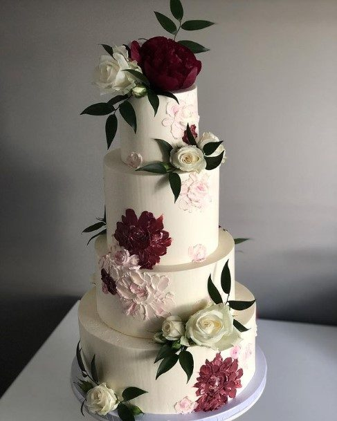 Wine Red Floral And White Roses Beautiful Wedding Cake