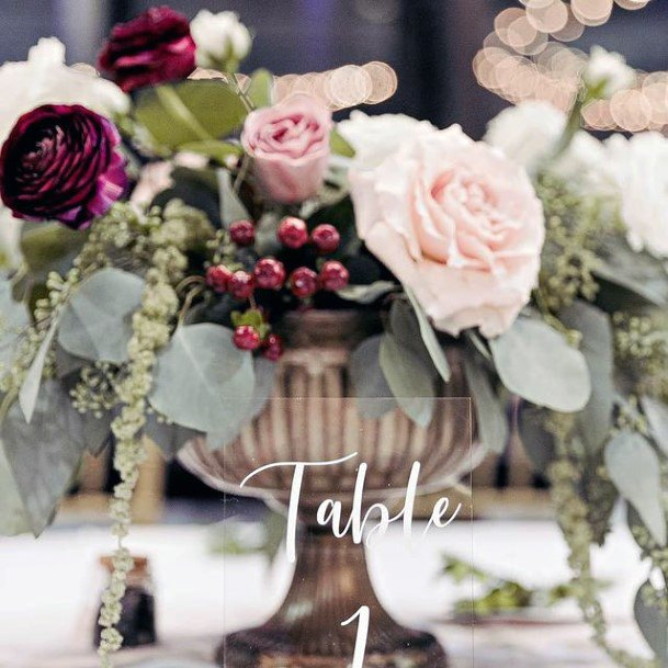 Wine Red Roses And Blush Flowers Wedding