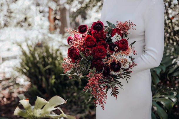 Wine Red Roses And Wedding Flowers