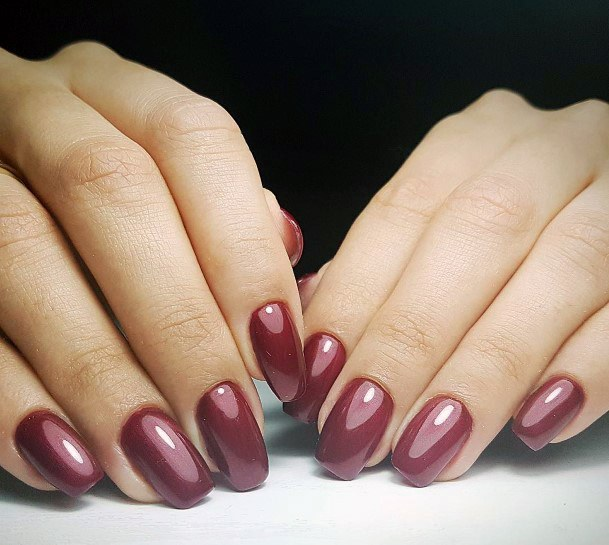 Wine Red Shellac Nails For Women