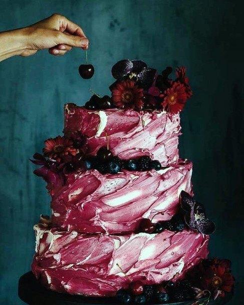 Wine Red Swirly Unique Wedding Cake