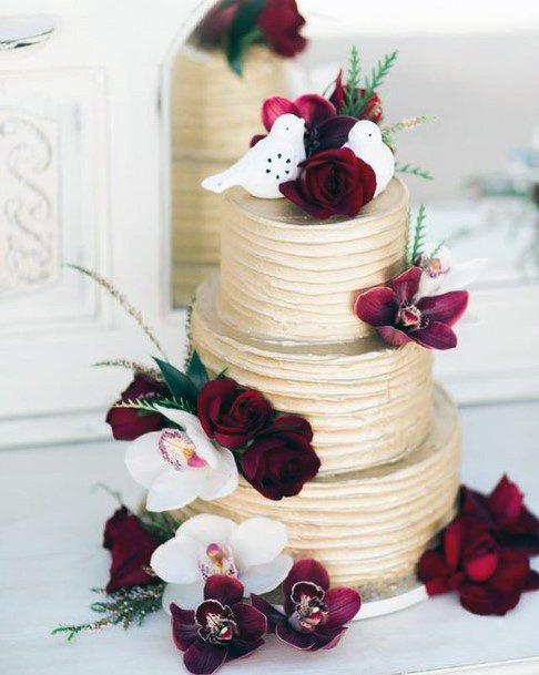Wine Red Velvet Wedding Cake