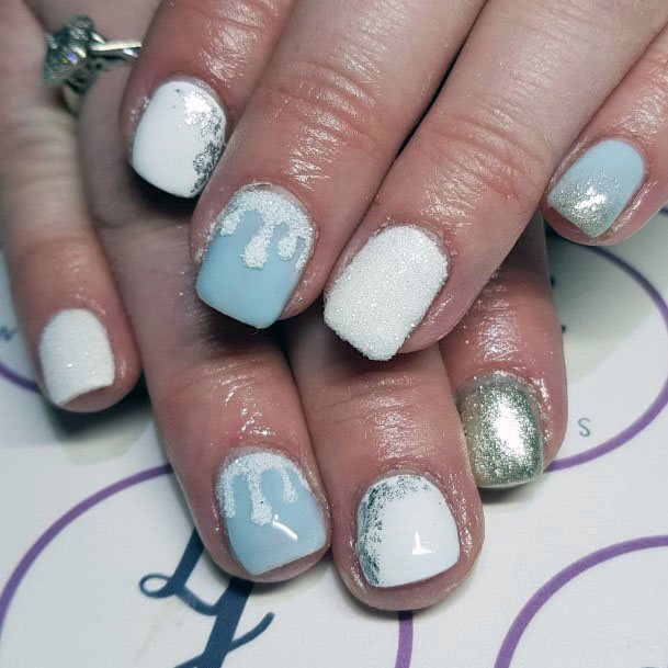 Winter Blues Sugared Nails For Women
