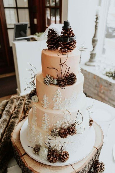 Winter Time Rustic Wedding Cake Toppers