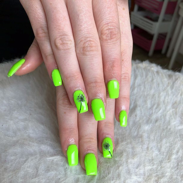 Wishing Flower Painted On Neon Green Nails