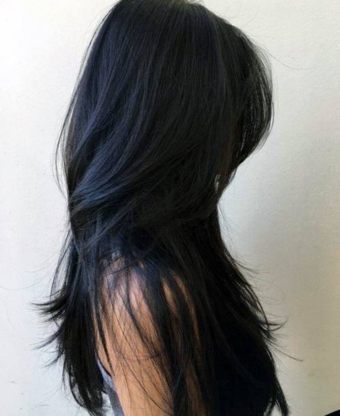 Woman With Jet Black Long Hair With Easy Layers Cut Throughout