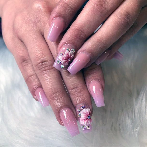 Womens 3d Flowers Blush Pink Nails