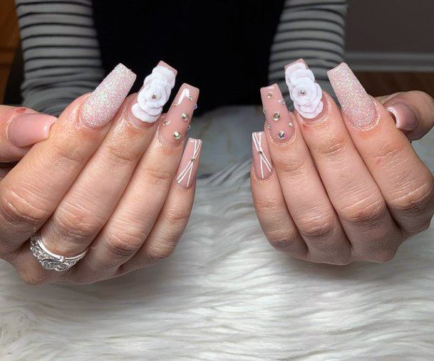 Womens 3d Flowers Square Nails