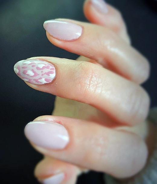 Womens Almond Nails Leopard Art Light Toned