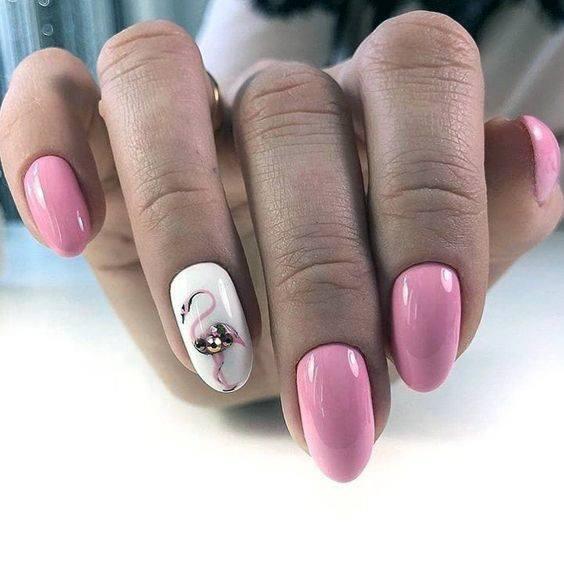 Womens Almond Shaped Flamingo Nails
