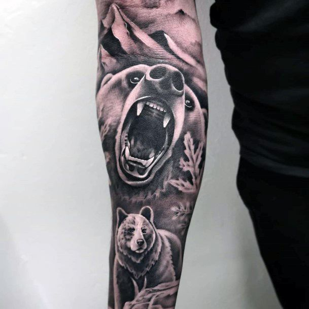 Womens Angry Grey Bears Tattoo Full Sleeves Ultra Realistic